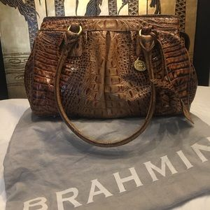 Brahmin Louise Rose Croc Leather Toasted Almond